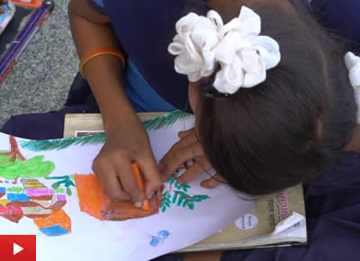 Children painting workshop at Gonde ashramshala