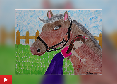 Horse painting by child artist Asmi Walavalkar