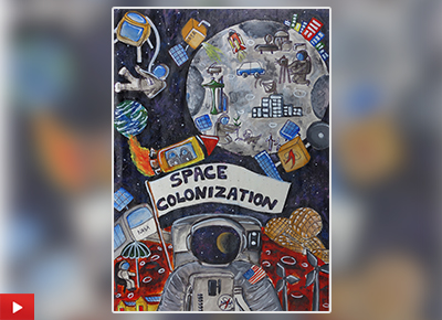 Space Colonisation painting by Nishtha Sharma