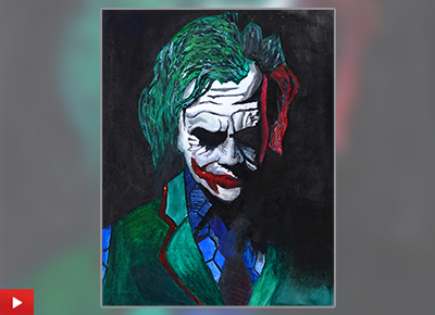 Joker painting by child artist Rithesh Shet