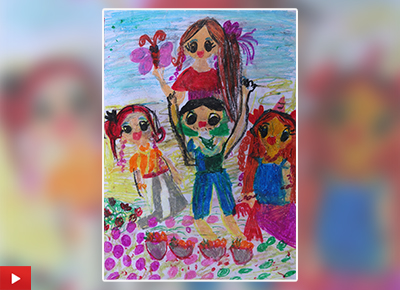 Family Picnic painting by Neily Hollupathirage (7 years), Dehiwala, Sri Lanka