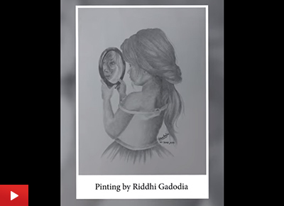 Girl holding a mirror drawing by Riddhi Gadodia (17 years)