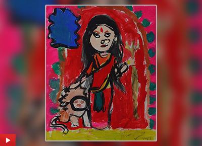 Maa Durga painting by child artist Ekavira Singh, Kolkata