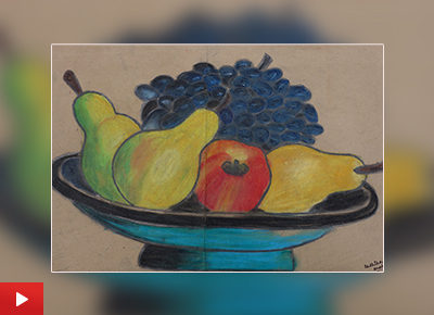 Still life painting in oil pastels by Radhika Khatter