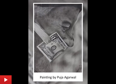 Power of Money, painting by Puja Agarwal (24 years)