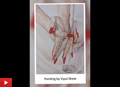 Clean your Hands, realistic painting by Vipul Shete (19 years)