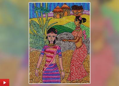 Village women painting by Krisha Shah (11 years)