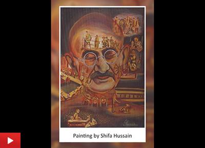 Painting of Mahatma Gandhi by Shifa Hussain (21 years)