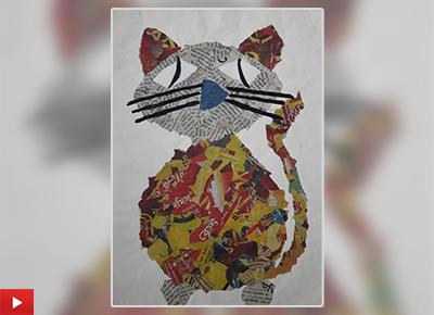 Cute cat collage art by Soham Saha (9 years)