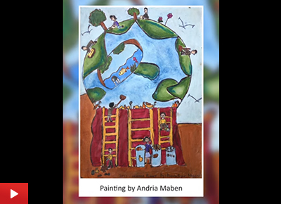 Green Planet painting by Andria Nidhi Maben (10 years)