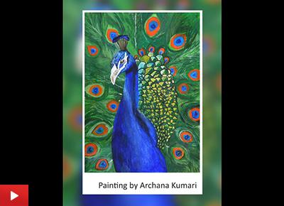 Peacock painting by Archana Kumari (23 years), Ranchi, Jharkhand