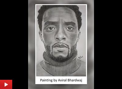 Black Panther Chadwick Boseman drawing by Aviral Bhardwaj