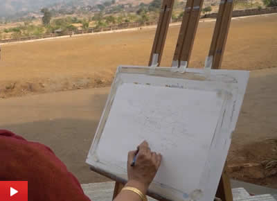Painting video of pencil drawing demo