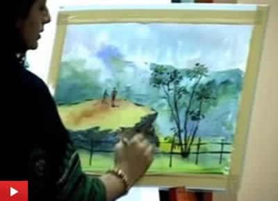 Watercolour Painting Demo by Chitra Vaidya at Jnana Prabodhini Prashala