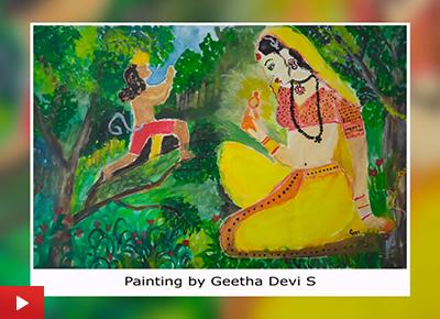 Sita in Ashoka Vatika, painting by Geetha Devi S