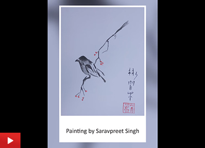 Japanese Sparrow, painting by Saravpreet Singh