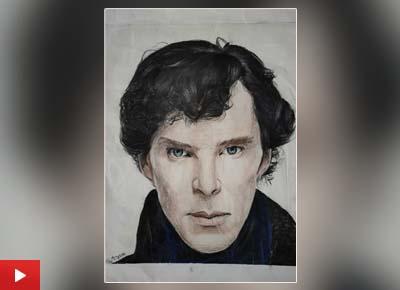 Sherlock Holmes portrait painting by Aryana Jayswal (13 years), Pune, Maharashtra