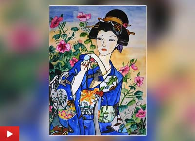 Chitrita Das (13 years) from Kolkata, West Bengal talks about her painting of a Japanese lady