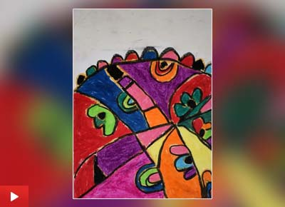 Apratim Mukherjee (8 years) from Pune talks about his painting titled 'Mindscapes'