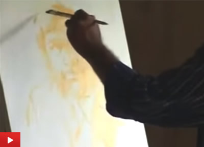 Portrait Painting demo by Artist Vasudeo Kamath at Indiaart Gallery : 2