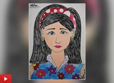 Asmi Walavalkar (9 years) from Mumbai talk about her Self portrait painting