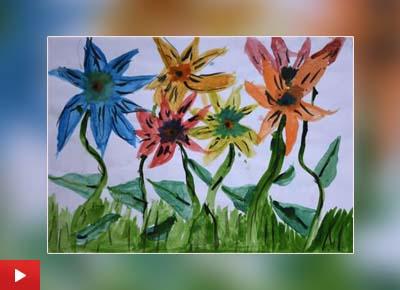 Arika Goenka (9 years) from Mumbai talks about her painting of Dancing Flowers