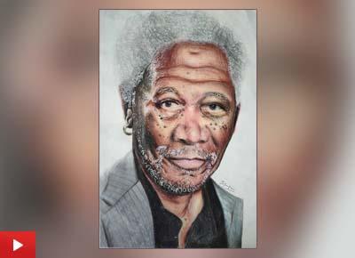 Shriraj Chavan (14 years) from Nashik, Maharashtra talks about the painting of Morgan Freeman