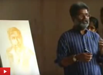 Portrait Painting demo by Artist Vasudeo Kamath at Indiaart Gallery : 3