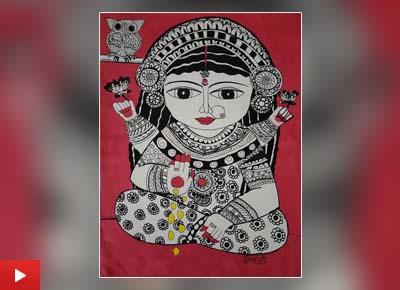 Painting of Goddess Laxmi by Shruti Purohit (14 years), Mumbai, Maharashtra