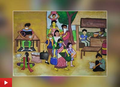 Self dependent India, paining by Sattwiki Purkait (14 years) from Nala Sopara, Maharashtra