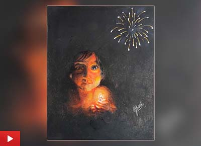 The painting 'Joy of Diwali' by Atrayee Ghosh (14 years) from Kolkata, West Bengal
