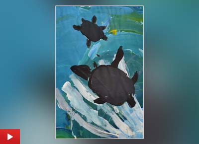 Sahana Subramanyam (5 years) from Bangalore, Karnataka talks about her painting 'Turtles up for air'