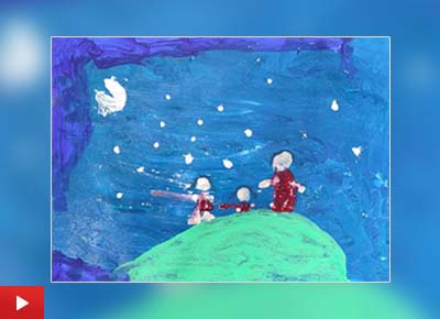 The painting 'Star Gazing' by Myra Mendoca (5 years) from Ahmedabad, Gujarat