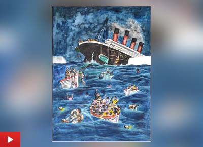 The painting depicting Titanic sinking by Somdutta Dey (11 years) from Bulbulchandi, West Bengal