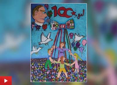 The artwork 'Atatürk and children's day' by Eylül Çelikkiran (9 years) from İzmir, Turkey