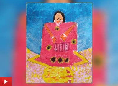 'Portrait of my Mum', painting by Saanvi Agarwal (6 years) from Harrow, England