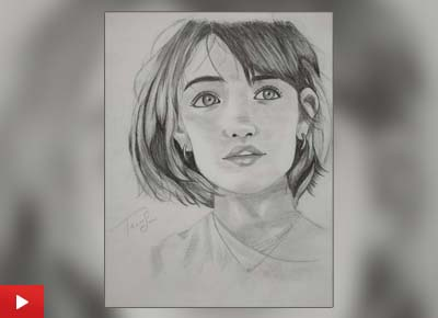 Girl portrait drawing by Tanvi Soni (15 years) from Ajmer, Rajasthan