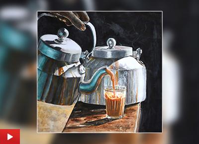 Cutting chai garam, painting by Yash Karanjavkar (18 years), Mumbai, Maharashtra