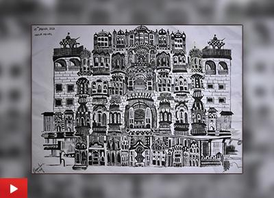 Hawa Mahal painting by Saloni Jain (17 years), Guwahati, Assam