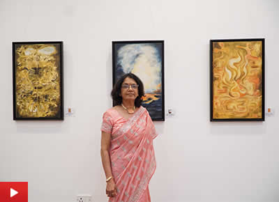 Artist Nirmal Pathare talks about her paintings at TRIO