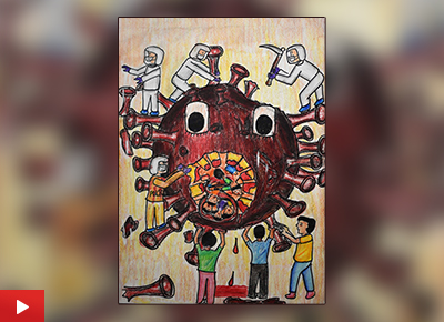 Corona Pandemic painting by Anjani Mhatre (16 years), Mumbai, Maharashtra