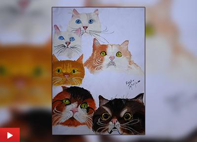 6 Wonderful Cats painting by Rohit Manikandan Nair (16 years), Mumbai, Maharashtra