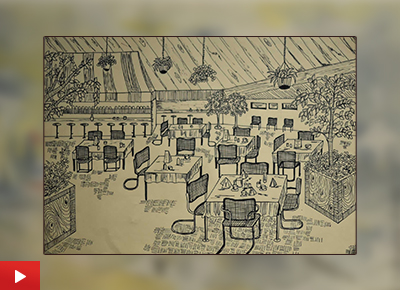 Cafetaria painting by Mrunmayi Sarvade (19 years), Solapur, Maharashtra