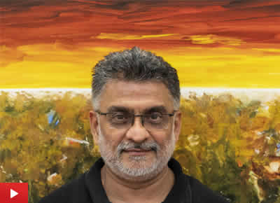 Artist Vinay Sane talks about his paintings at TRIO