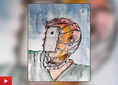Domination of technology on humans painting by Anindita Ghosh (24 years), Ukhra, West Bengal