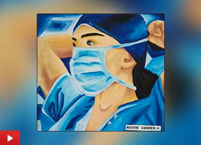 Fight against coronavirus painting by Ansita Khanda (17 years), Karamdihi, Odisha