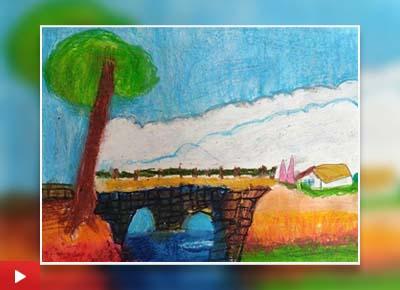 Scenery of house near the bridge, painting by Prisha Das (5 years)