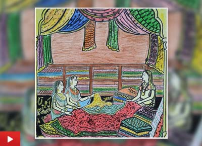 Woman makes preparations for her marriage, painting by Rajeshwari Mandal (12 years)