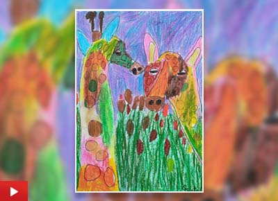 Giraffes from the Rainbowland, painting by Crystal Mittal (7 years)