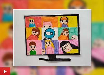 Online class - A school @ home, painting by Darshini Balasubramani (10 years)